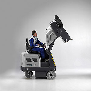 Hydraulic emptying system for Ride on Sweeper